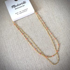NWT Madewell Enamel Bead Gold Chain Necklace Set